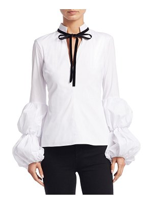 Caroline Constas Yasmin Puff-Sleeve Cotton Blouse