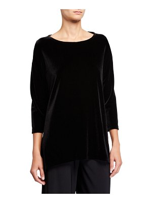 Caroline Rose 3/4-Sleeve Stretch Velvet Party Top