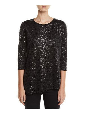 Caroline Rose Angled Sequin Tunic Top