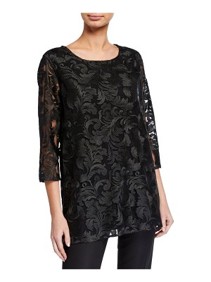 Caroline Rose Flourish Embroidery 3/4-Sleeve Lined Tunic