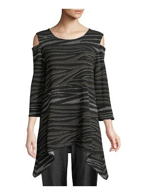 Caroline Rose Howl At The Moon Cold-Shoulder Metallic Textured-Knit Tunic