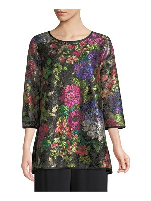 Caroline Rose Midnight Garden 3/4-Sleeve Shimmer Floral-Print Lace Tunic w/ Tank Liner