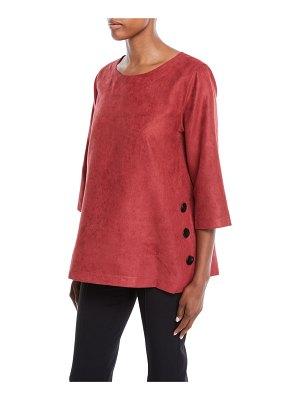 Caroline Rose Modern Sueded Fabric Tunic with Button Detail
