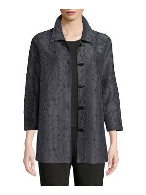 Caroline Rose Raised Circle-Jacquard Oval-Button Front Cocktail Shirt