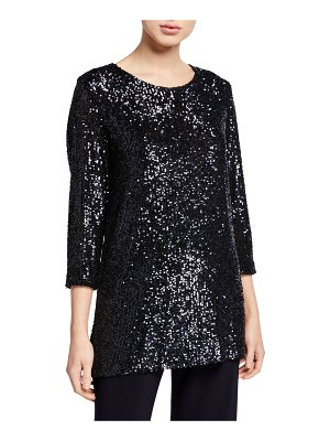 Caroline Rose Sequin 3/4-Sleeve Tunic