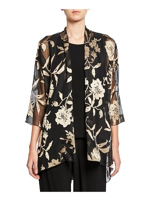 Caroline Rose Sheer Floral Swing Jacket