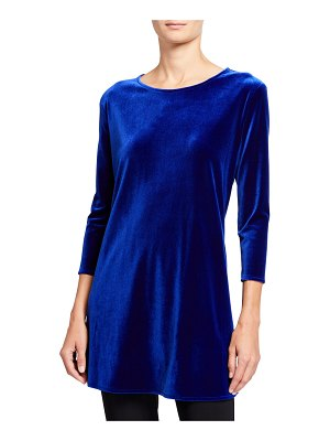 Caroline Rose Stretch Velvet 3/4-Sleeve Flare Tunic