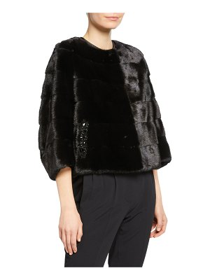 Carolyn Rowan Beaded Horizontal Mink Fur Jacket