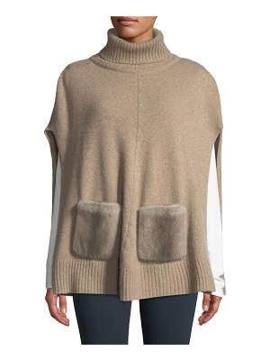 Carolyn Rowan Cashmere Turtleneck Poncho w/ Fur Pockets