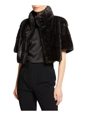 Carolyn Rowan Horizontal Quilted Mink Bolero Jacket