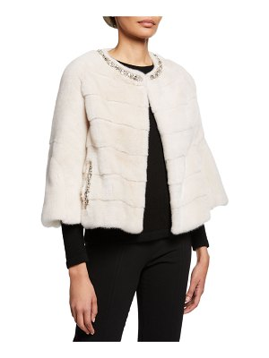 Carolyn Rowan Short-Nap Mink Fur Jacket with Deco Beading