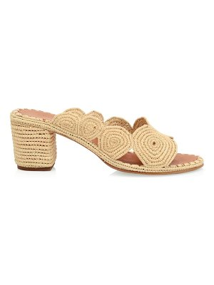 CARRIE FORBES natural raffia mule sandals