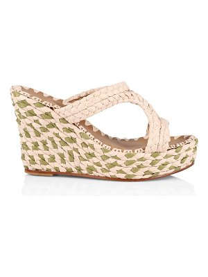 CARRIE FORBES natural raffia platform wedge mules