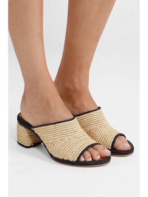 CARRIE FORBES rama two-tone woven raffia mules