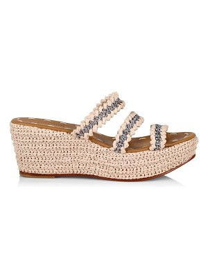 CARRIE FORBES said raffia 3-strap wedge sandals