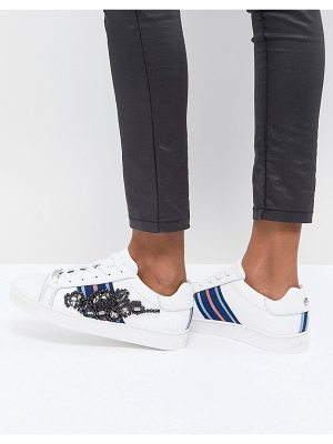 Carvela Kurt Geiger leather sneaker with sports stripes & embellishment