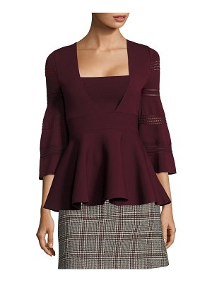 Carven Bell-Sleeve Peplum Top