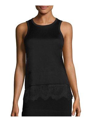 Carven Lace Bottom Cotton Tank