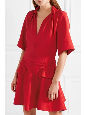 Carven lace-up ruched canvas mini dress