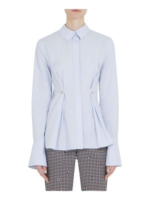 Carven Long-Sleeve Darted Poplin Cotton Top