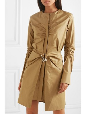 Carven pearl-embellished ruched cotton mini dress