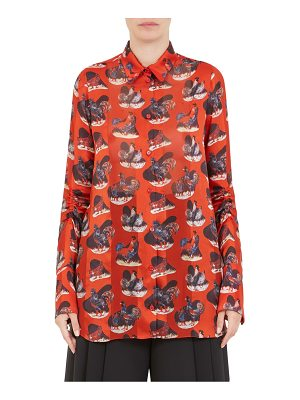 Carven rooster-print silk blouse