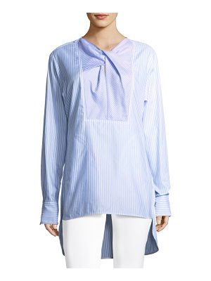 Carven Striped Long-Sleeve Cotton Poplin Long Shirt