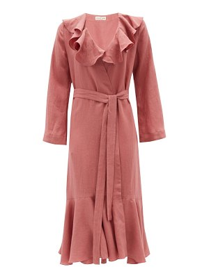 Casa Raki esme ruffled organic-linen wrap dress