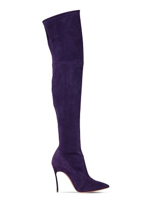 Casadei 100mm blade stretch suede boots