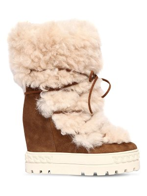 Casadei 120mm shearling & suede sneaker boots