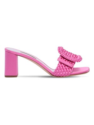 Casadei 60mm buckled woven satin mule sandals