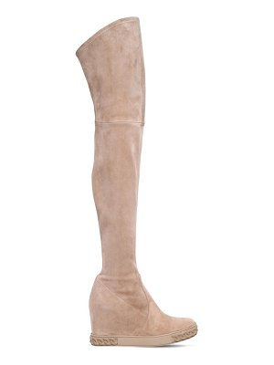 Casadei 80mm stretch suede over the knee wedges
