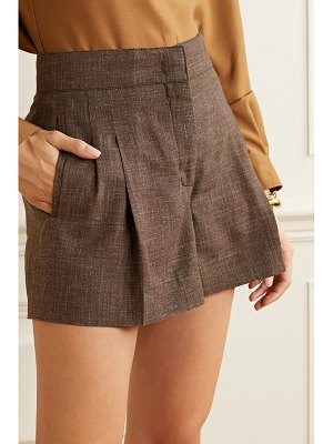 CASASOLA net sustain pleated mélange organic wool, silk and linen-blend shorts
