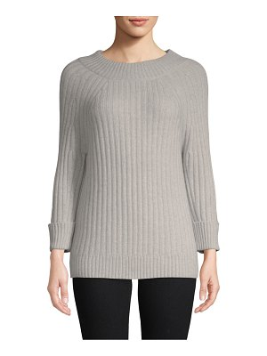 Cashmere Saks Fifth Avenue Classic Three-Quarter Sleeve Sweater