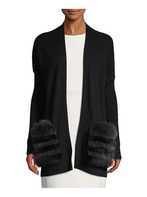 Cashmere Saks Fifth Avenue For Fur Trimmed Longline Cashmere Cardigan