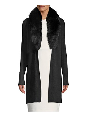 Cashmere Saks Fifth Avenue Fox Fur-Collar Cashmere Cardigan