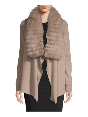 Cashmere Saks Fifth Avenue Fox Fur Collar Cashmere Cascade Cardigan