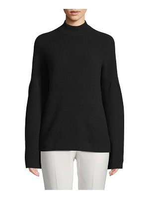 Cashmere Saks Fifth Avenue Mockneck Bell-Sleeve Cashmere Sweater
