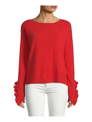 Cashmere Saks Fifth Avenue Ruffle-Sleeve Cashmere Sweater
