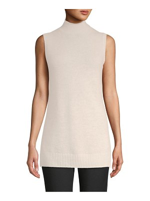 Cashmere Saks Fifth Avenue Sleeveless Turtleneck Cashmere Sweater