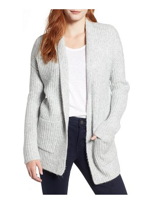 Caslon caslon fluffy ribbed long sleeve cardigan