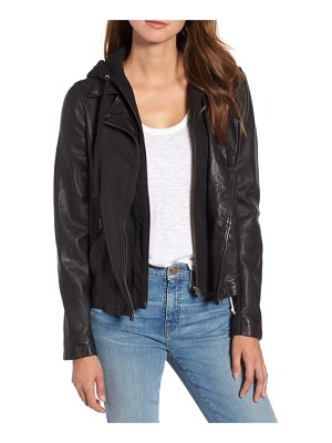 Caslon caslon leather moto jacket with removable hood