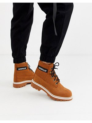 Cat Footwear cat lyric corduroy suede lace up boots in rust-brown
