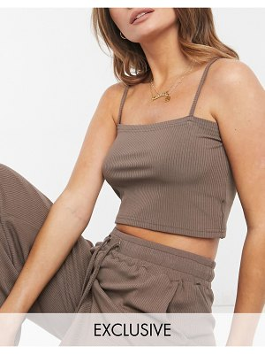 Catch exclusive ribbed crop top in brown