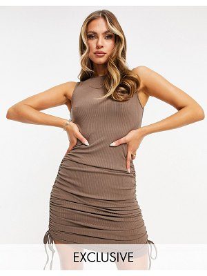 Catch exclusive ribbed mini ruched tie side dress in brown