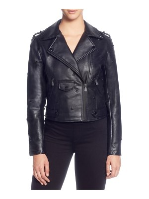 Catherine Catherine Malandrino star stud faux leather moto jacket
