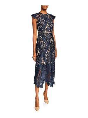Catherine Deane Leaf Lace Midi Dress w/ Ladder Detail