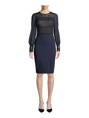 Catherine Deane Lillian Sheer Dot & Lace Long-Sleeve Dress