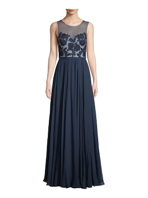 Catherine Deane Lilyana Sheer Gown w/ Tulle & Lace