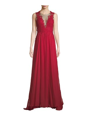 Catherine Deane Lova Plunge-Illusion Low-Back Gown w/ Tulle & Lace